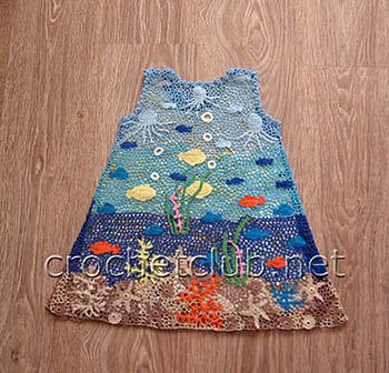 платье аквариум в ирландской технике 1