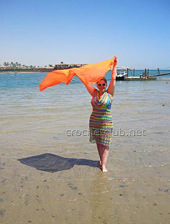 пляжная туника радуга