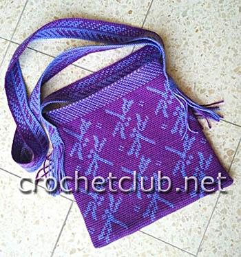 сумочка стрекозы в жаккардовой технике