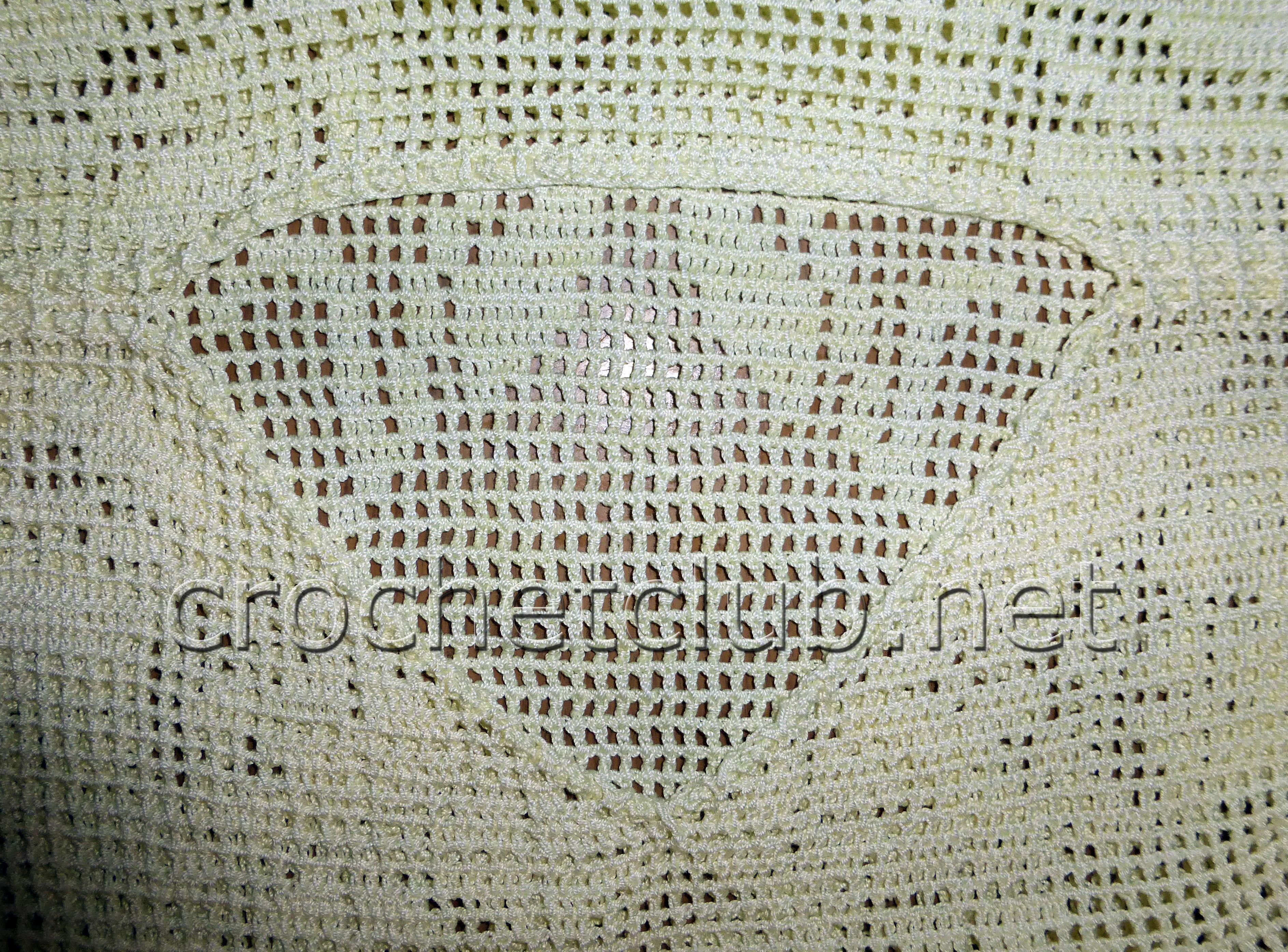 схема и описание вязания крючком туники из филейной сетки
