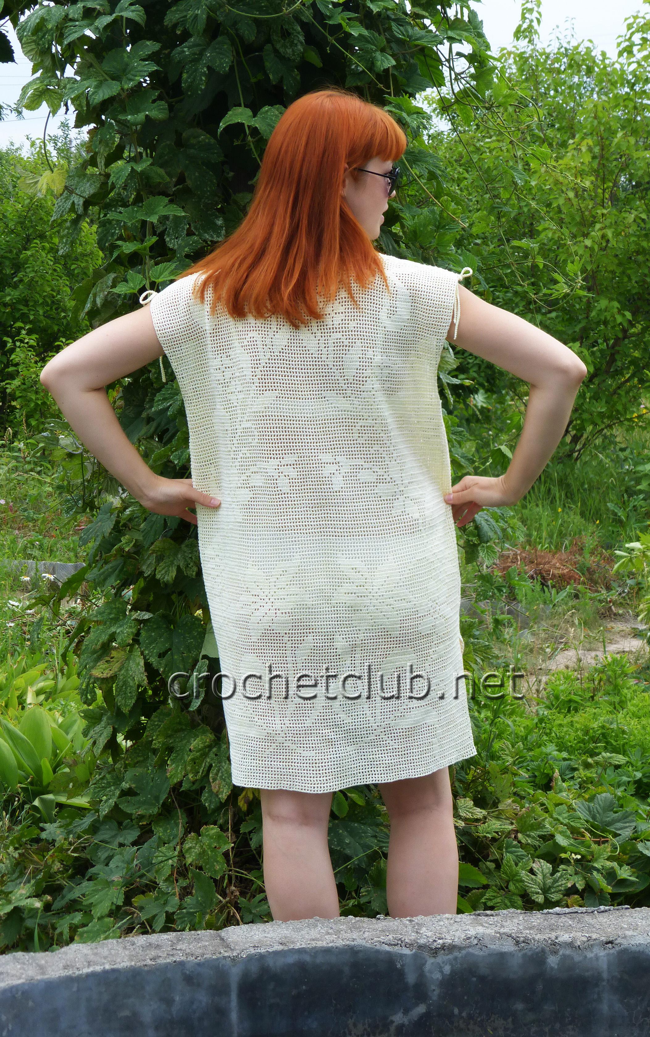 Туники и блузы филейное вязание Много