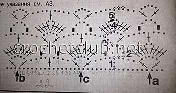 белая туника связанная крючком-схема