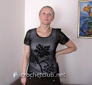 черная блузка-филе