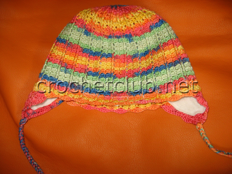 схема вязания крючком шапочек с ушками