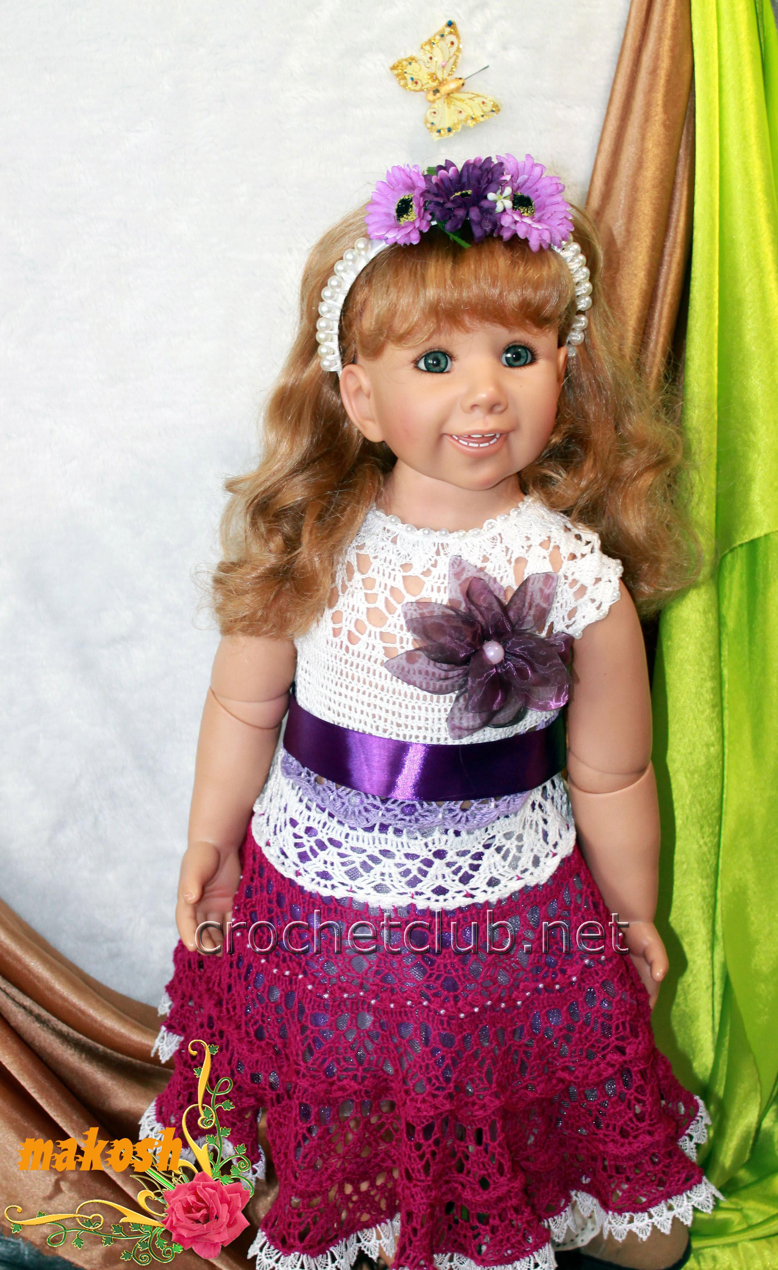 платье на девочку 3 года крючком схема
