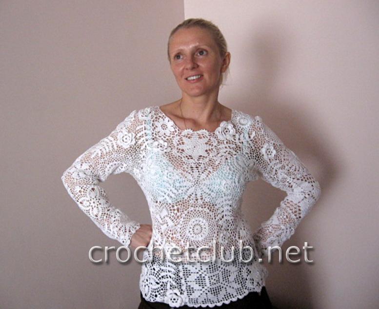Пуловер ирландским кружевом