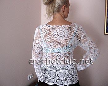 белый пуловер-ирландское кружево 1