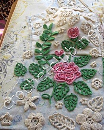 жакетик с розами-ирландское вязание 3