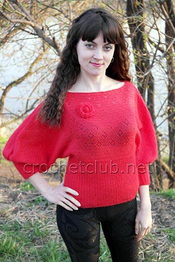 красный пуловер крючком 1