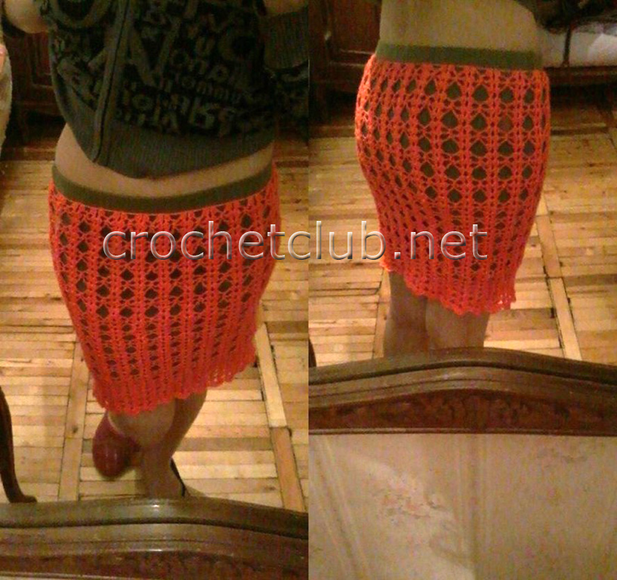 Облегающая юбка крючком