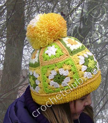 вязаная шапочка в стиле пэчворк