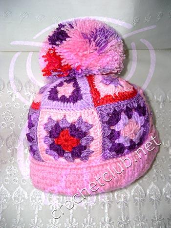 вязаная шапочка в стиле пэчворк 7