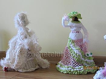 вязаные куклы-чехлы для бутылок 1