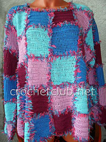 вязаный пуловер квадратная мозаика