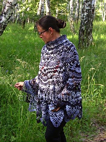 вязаное пончо и шаль по одной схеме 2