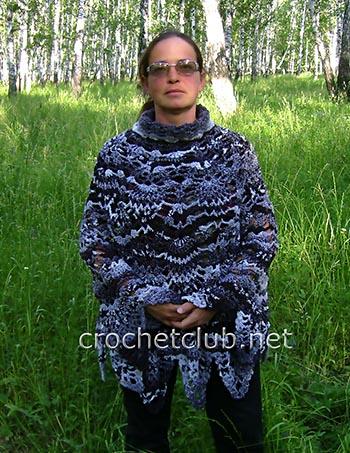 вязаное пончо и шаль по одной схеме 3