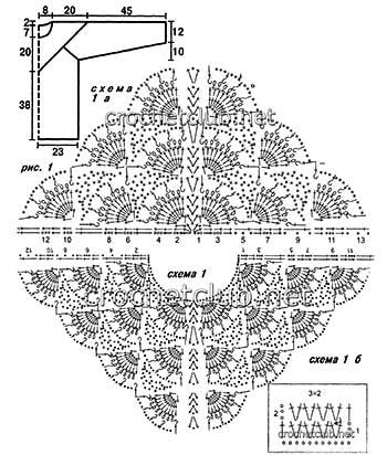 джемпер бирюза связанный крючком-схемы