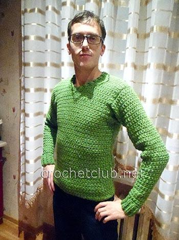 мужской пуловер крючком 1