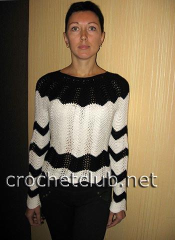 пуловер связанный волнистым узором 2