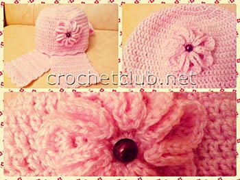 шапочка и шарфик для годовалой девочки