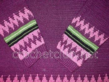 свитер с жаккардовыми узорами крючком 2