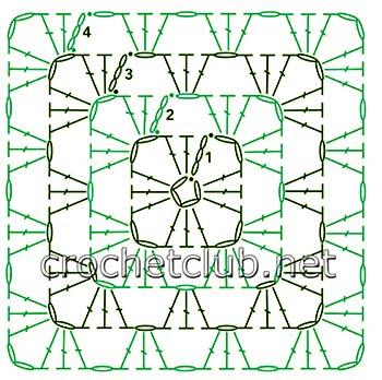 теплый свитер, связанный крючком-схема