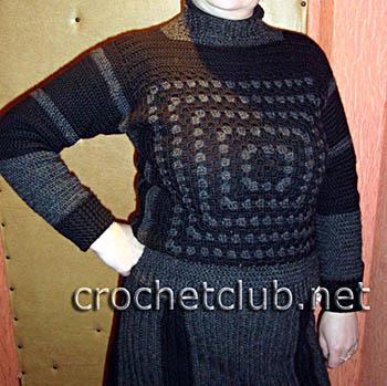 теплый свитер, связанный крючком