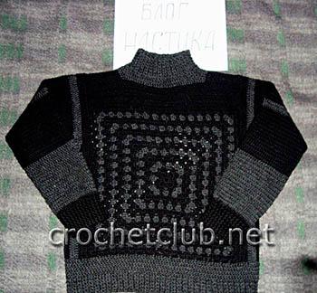 теплый свитер, связанный крючком 1