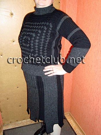 теплый свитер, связанный крючком 2