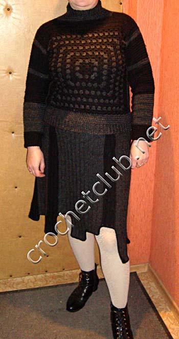 теплый свитер, связанный крючком 3