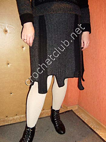 теплый свитер, связанный крючком 4