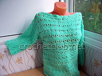 вязаный пуловер мятная свежесть