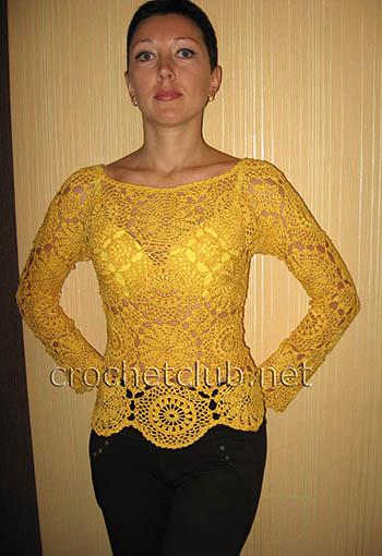 вязаный пуловер солнечный 1