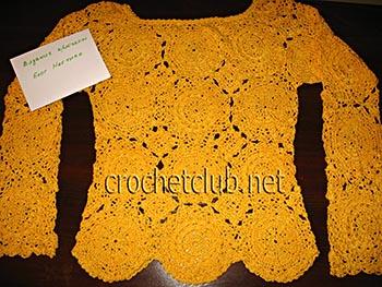 вязаный пуловер солнечный 2
