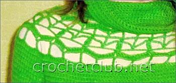 зеленый свитер связанный крючком-элемент
