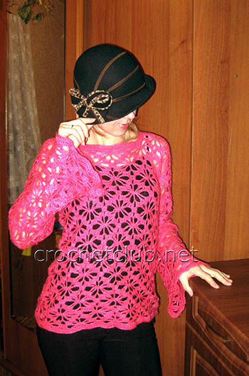 розовый пуловер крючком