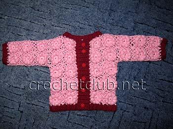 Вязание ажурная кофточка для девочки реглан 18