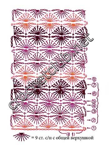 вязаный берет цветочный-схема 2