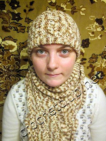 двойная зимняя шапка и шарф