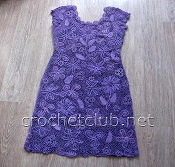 фиалковое платье-ирландское кружево