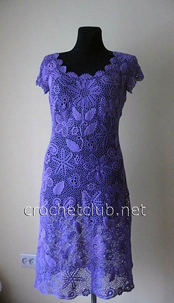 фиалковое платье-ирландское кружево 1