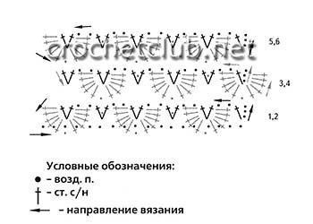 ажурные митенки крючком-схема