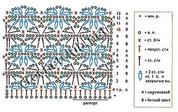 кофточка крючком цветочная-схема