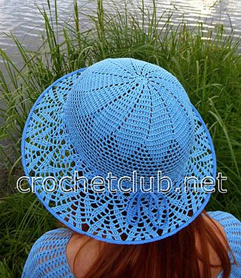 шляпа крючком васильковое лето