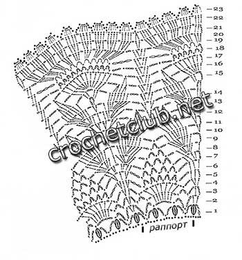 вязаная юбка узором листики-схема