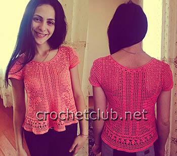 летняя блузка в филейной технике