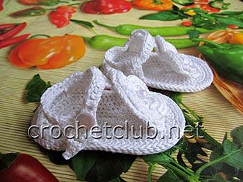 пинетки-босоножки и повязка крючком