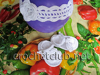пинетки-босоножки и повязка крючком 2