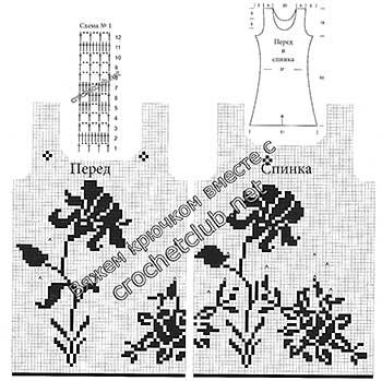 платье связанное филейными узорами-схемы