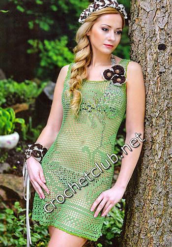 платье связанное филейными узорами 1